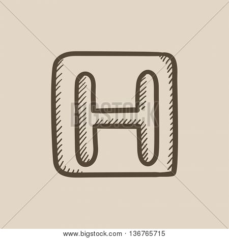 Hospital sign vector sketch icon isolated on background. Hand drawn Hospital sign icon. Hospital sign sketch icon for infographic, website or app.