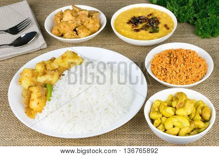 Lankan style vegetarian rice and curry dishes