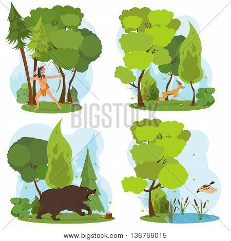American Indian in the woods hunting. Indian hunts with a bow. nature scenes. duck flies up from the lake. angry bear in the woods. deer running fast through the trees. vector.