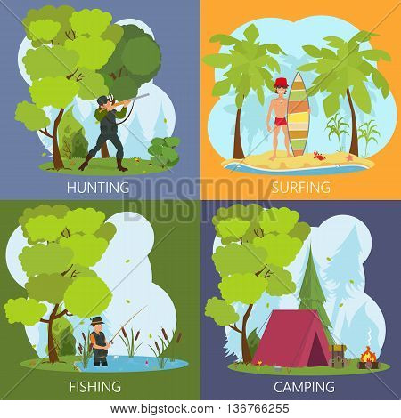 Men's leisure activities: fishing hunting hiking surfing. leisure men outdoors. vector