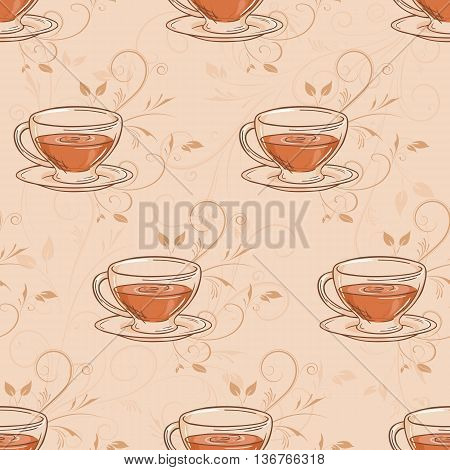 vector hand drawn seamless pattern with cup of tea and branches.