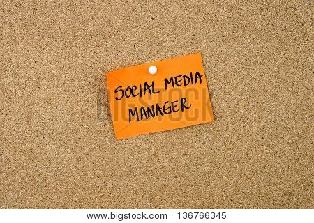 Social Media Manager Written On Orange Paper Note