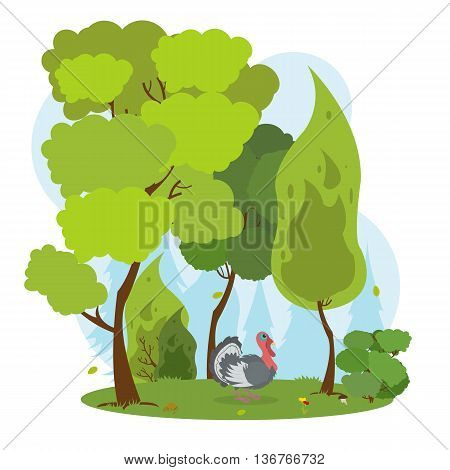 wild turkey standing among the trees in a dense forest. turkey in the forest. vector