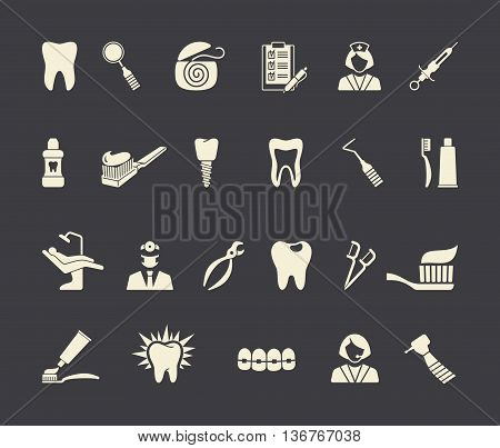 Stylized flat symbols of dentistry and dental care