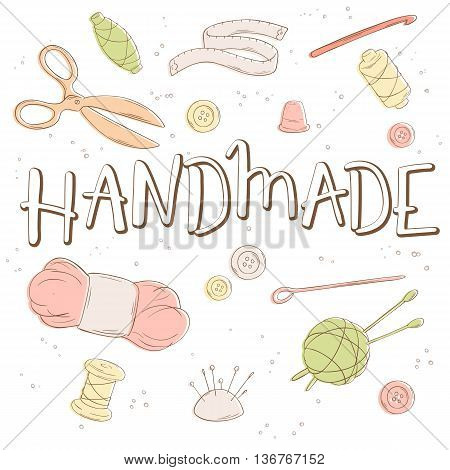 vector hand lettering label - handmade - with tailoring and knitting tools. Design for poster, t-shirt or mug.