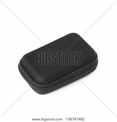 Black small rectangular protection case shell with a zipper, isolated over the white background