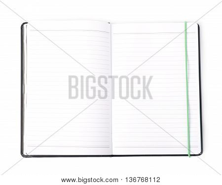 Opened empty note book isolated over the white background