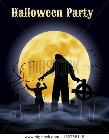 Spooky graveyard on the Halloween Night with zombie