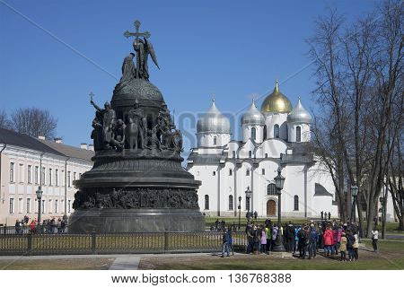 GREAT NOVGOROD, RUSSIA - APRIL 18, 2015: The monument