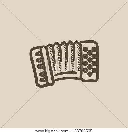 Accordion vector sketch icon isolated on background. Hand drawn Accordion icon. Accordion sketch icon for infographic, website or app.