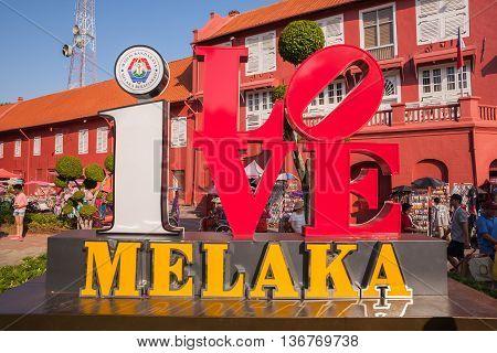 Malacca Malaysia - June 30 2016 : Main Malacca city square sign
