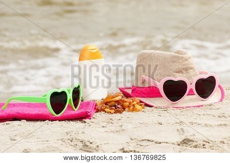 Amber Stones And Accessories For Vacation On Sand At Beach, Sun Protection, Summer Time