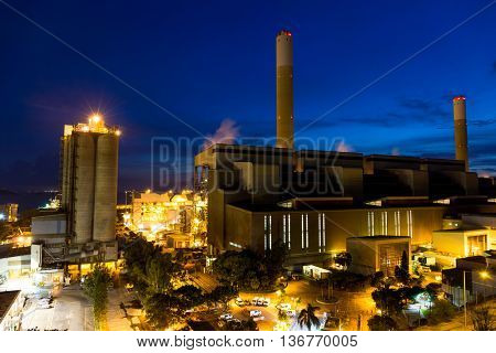 Cement plant at evening
