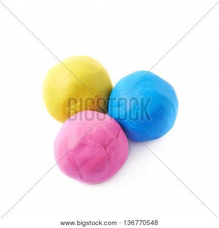 Multiple colorful plasticine balls, composition isolated over the white background