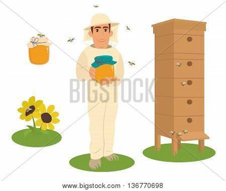 Apiary beekeeper vector illustrations. Apiary vector symbols. Bee honey bee house honeycomb. Honey natural healthy food production. Man beekeer special costume. Bee flowers beehive and wax