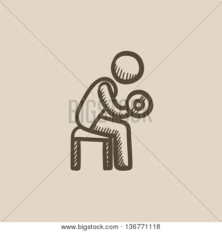 Man exercising with dumbbells vector sketch icon isolated on background. Hand drawn Man exercising with dumbbells icon. Man exercising with dumbbells sketch icon for infographic, website or app.
