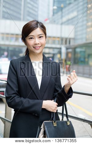 Young Businesswoman standing at outdoor
