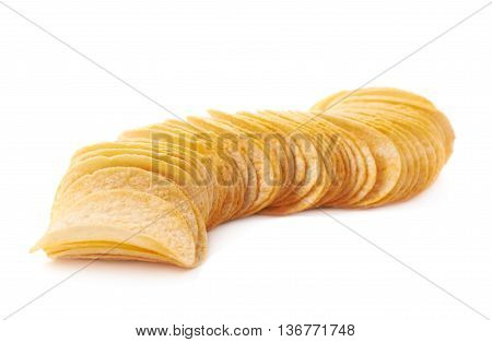 Stack of multiple potato chips isolated over the white background