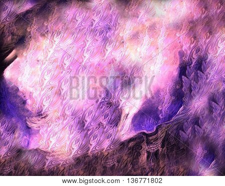 lila ornamental abstract background with leaf and feather elemental patterns.