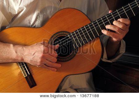 Senior Learning Flamenco Guitar