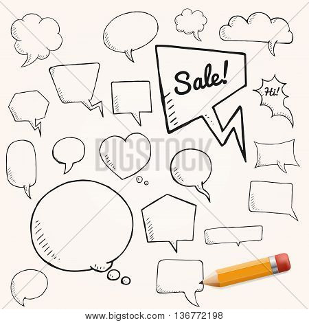 Vector set of talk and think bubbles with yellow pencil group of oodle speech bubles on white background