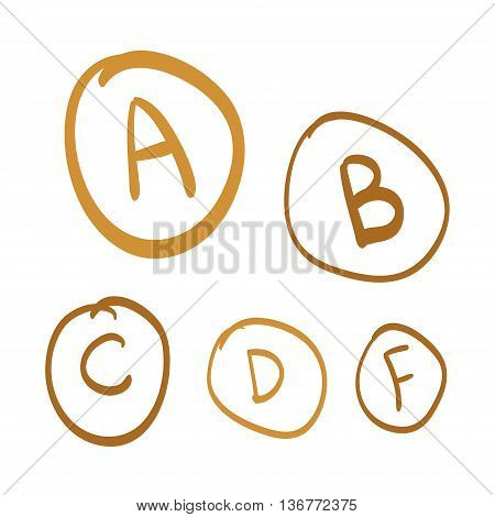 Hand drawn vector grades set of gold hand drawn letters gold doodle illustration