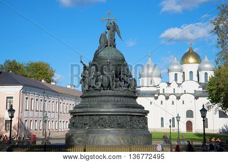 GREAT NOVGOROD, RUSSIA - OCTOBER 03, 2015: The monument