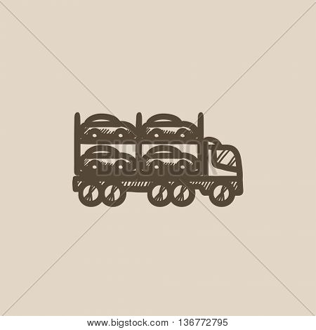 Car carrier vector sketch icon isolated on background. Hand drawn Car carrier icon. Car carrier sketch icon for infographic, website or app.