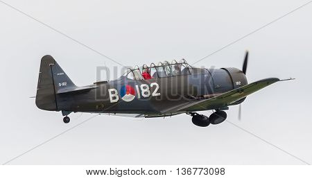 Leeuwarden, The Netherlands - June 11, 2016: At-16 Harvard Mk. Iib During A Demonstration At The Roy