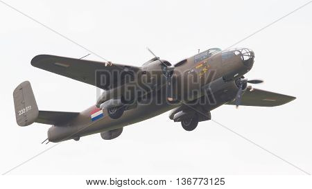 Leeuwarden, The Netherlands - June 11: Ww2 B-25 Mitchell Bomber In Dutch Markings During The Dutch A