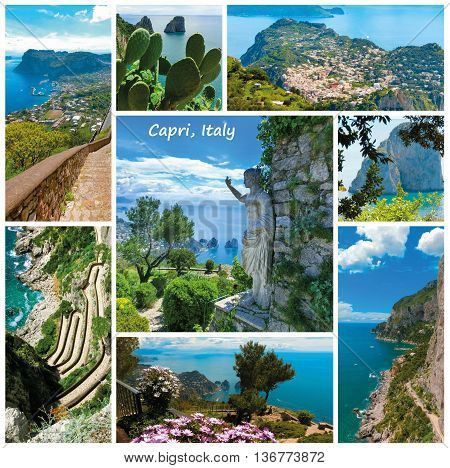 Collage from views of Capri, beautiful and famous island in the Mediterranean Sea Coast, Naples. Italy.