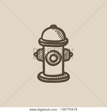 Fire hydrant vector sketch icon isolated on background. Hand drawn Fire hydrant icon. Fire hydrant sketch icon for infographic, website or app.