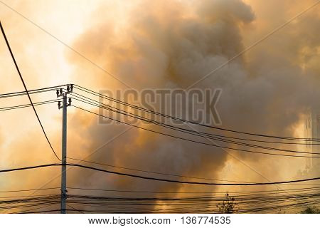 wildfire at side of road, tempereture background