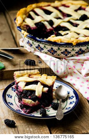Mulberry pie with a lattice. Style rustic. selective focus