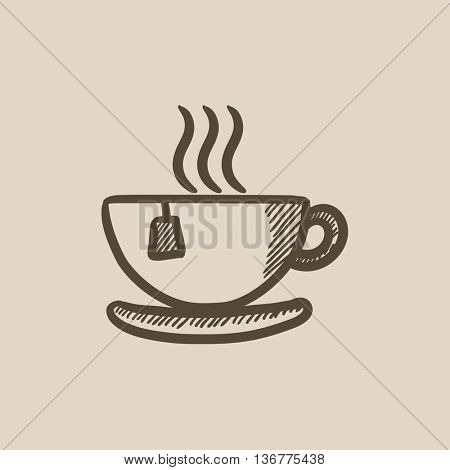 Hot tea in cup vector sketch icon isolated on background. Hand drawn Hot tea in cup icon. Hot tea in cup sketch icon for infographic, website or app.