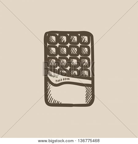 Opened bar of chocolate vector sketch icon isolated on background. Hand drawn Opened bar of chocolate icon. Opened bar of chocolate sketch icon for infographic, website or app.