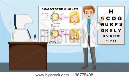 Eye doctor standing in the clinic illustration