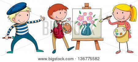 Aritists painting on canvas illustration