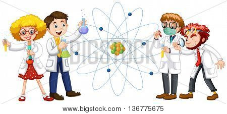 Male and female scientists illustration