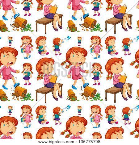 Seamless girl doing different activities illustration