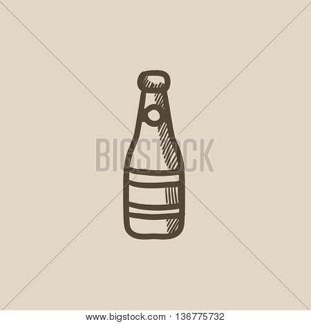 Glass bottle vector sketch icon isolated on background. Hand drawn Glass bottle icon. Glass bottle sketch icon for infographic, website or app.