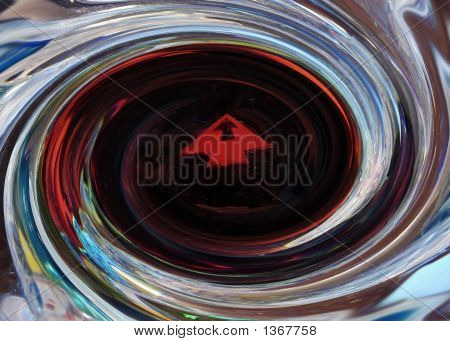 Abstract Twisted Fractal Background With An Arrow Within