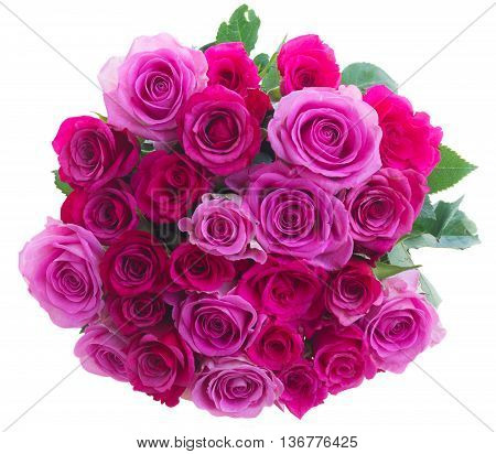round bouquet of pink and magenta roses isolated on white background