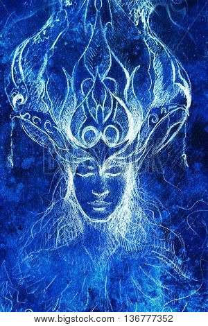 man and ornamental crown, pencil sketch on paper, blue vinter effect