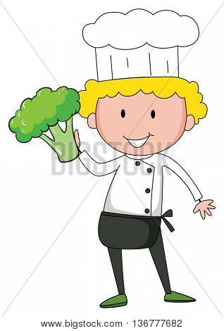 Chef holding broccoli in one hand illustration