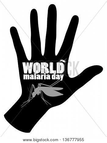 World malaria day poster with mosquito and hand illustration