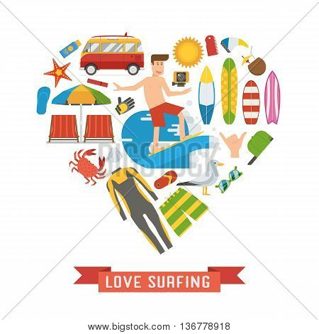 Love Surfing Heart Concept