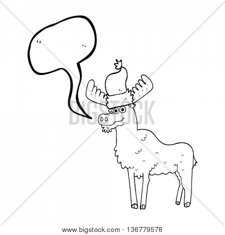 freehand drawn speech bubble cartoon christmas moose
