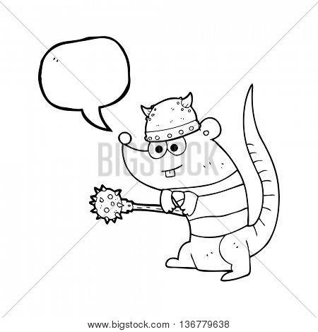 freehand drawn speech bubble cartoon rat warrior