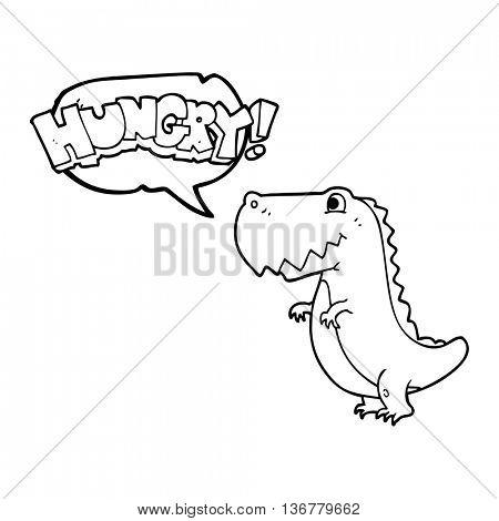 freehand drawn speech bubble cartoon hungry dinosaur